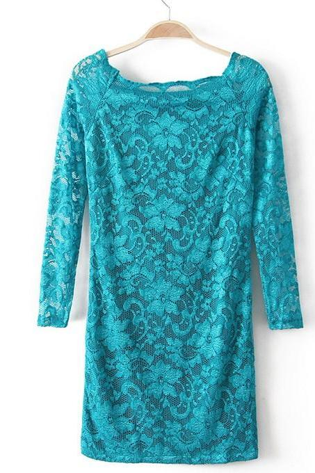 Fashion Lace long-sleeved dress - Green