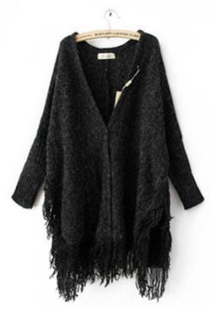 Fashion Tassel Decoration Long Sleeve Cardigans - Black