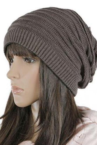 Free shipping Women Knitted Hat Cap - Dark Grey