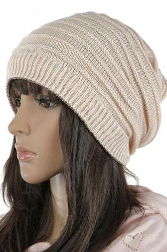 Free shipping Women Knitted Hat Cap - Beige