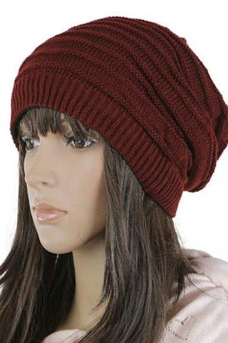 Free shipping Women Knitted Hat Cap - Wine Red