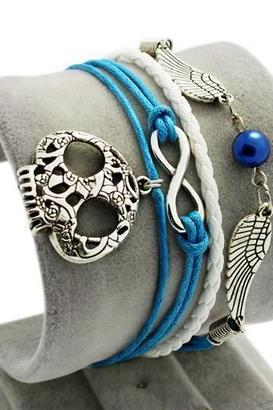 Angel wings-infinity blue bracelet charm bracelet skull white braided leather bracelet