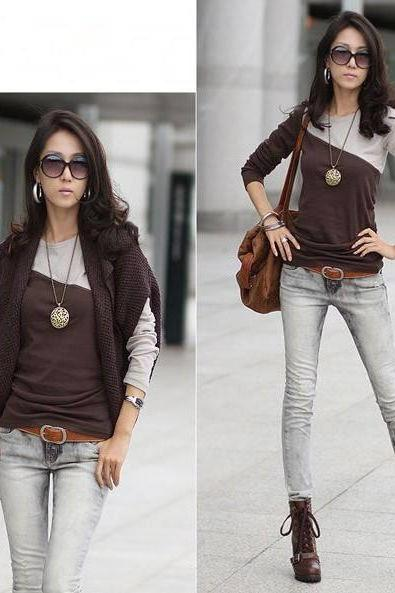 Women Cotton long sleeve T- shirt - Coffee