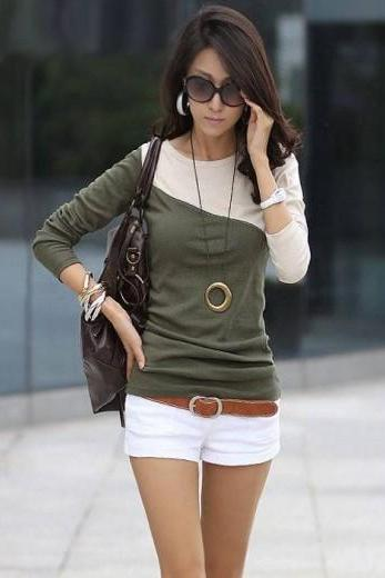 Women Cotton long sleeve T- shirt - Green