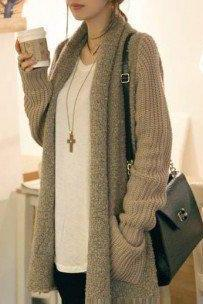 Loose plush knit cardigan sweater L 073007