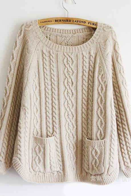 Retro Batwing Sleeve Sweater With Pockets - Beige