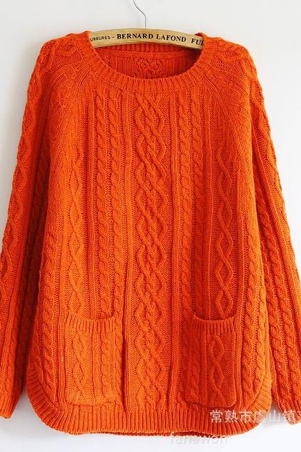Retro Batwing Sleeve Sweater With Pockets - Orange