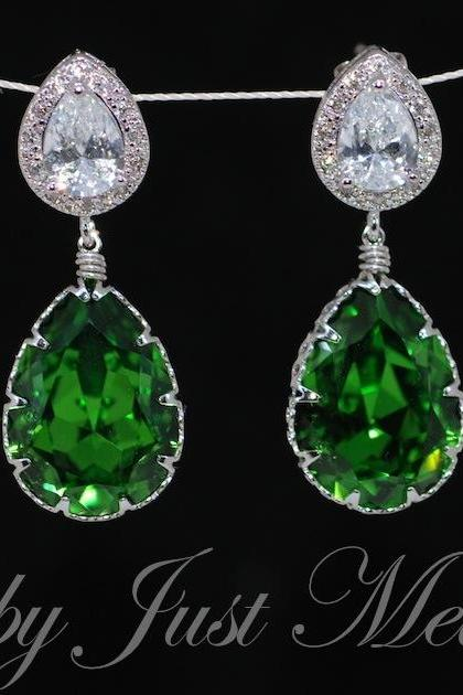 Wedding Earrings, Bridesmaid Earrings, MOH Gift - Cubic Zirconia Teardrop Earring with Swarovski Fern Green Teardrop Crystal (E363)