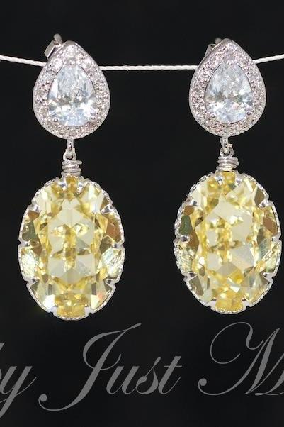 Wedding Earrings, Bridesmaid Earrings, Bridal Jewelry - Cubic Zirconia Teardrop and Swarovski Oval Jonquil Crystal Earrings (E399)