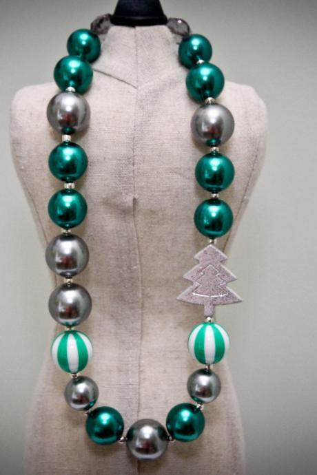 Green & Silver Holiday Chunky Toddler Necklace