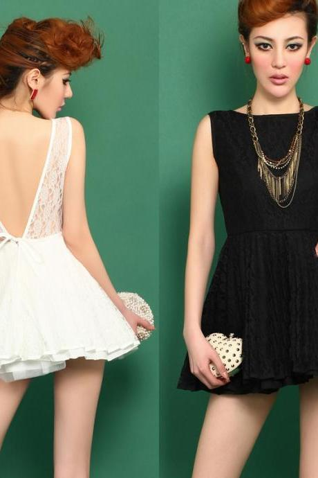 Deep V Dew Back Lace Tutu Dress JCHCA