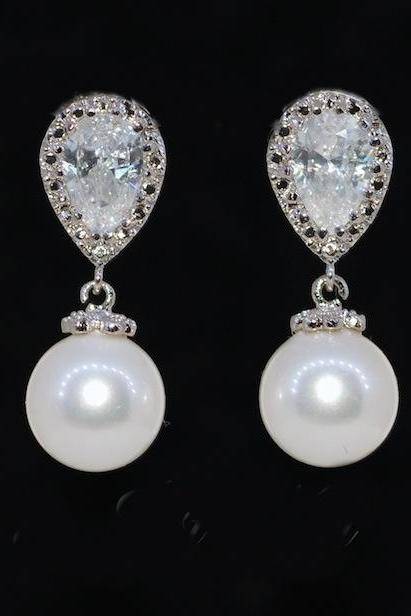 Wedding Earrings, Bridesmaid Earrings, Bridal Jewelry - Cubic Zirconia Teardrop Earring with White Pearl (E260)
