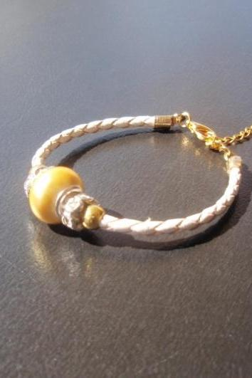 Mellow yellow shell pearl bracelet braided white leather elegant minimal mothers day gift