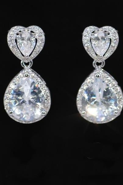 Wedding Earrings, Bridesmaid Earrings, Bridal Jewelry - Cubic Zirconia (cz) Heart Earring with Teardrop CZ Surrounding with Small CZ (E373)