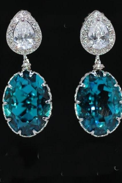 Wedding Earrings, Bridesmaid Earrings, Bridal Jewelry - Cubic Zirconia Teardrop and Swarovski Oval Indicolite Crystal Earrings (E362)