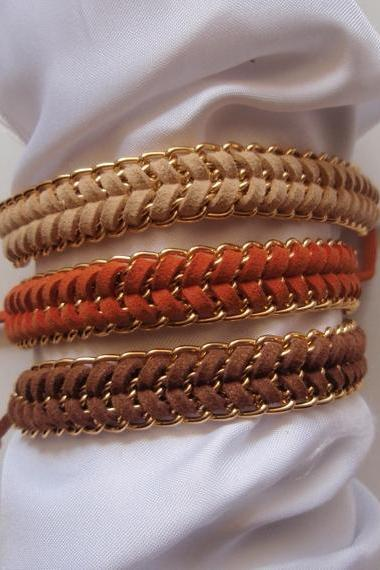 Summer tan - fishbone braid bracelet, gold chain summer trend modern gift CHOOSE your color