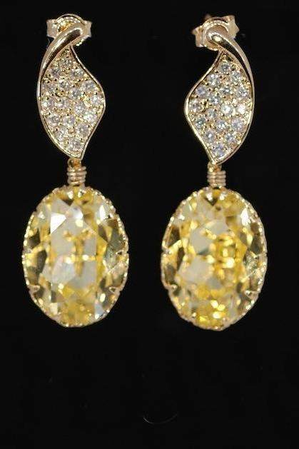 Wedding Earrings, Bridesmaid Earrings, Gold Plated Cubic Zirconia Detailed Twisted Leaves Earring with Swarovski Jonquil Oval Crystal (E366)