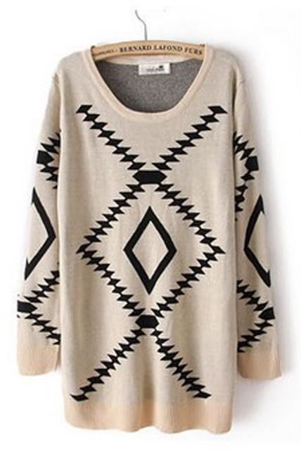 Fitted Comfy Geometry Pattern Knitting Wool Pullovers - Beige