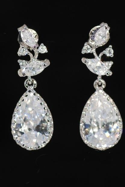 Cubic Zirconia Leaves and Branches Earring with Teardrop - Wedding Earrings, Bridesmaid Earrings, Bridal Jewelry (E315)