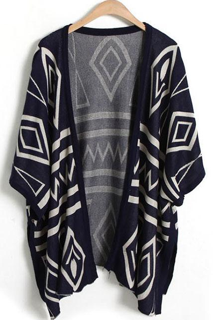 Stylish Navy Blue Geometrical Pattern Shawl Sweater for Woman