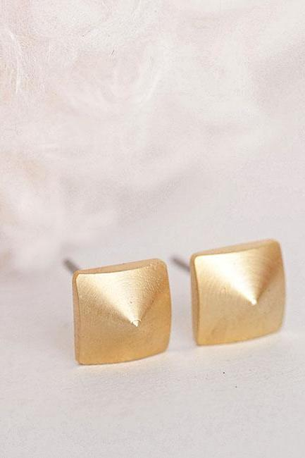 Gold Square Pyramid Stud Earrings, Geometric Inspired