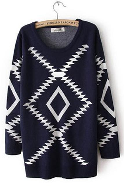 Fitted Comfy Geometry Pattern Knitting Wool Pullovers - Navy Blue