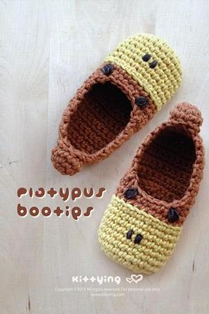 Crochet PATTERN Platypus Baby Booties Crochet PATTERN (Pdf) by kittying