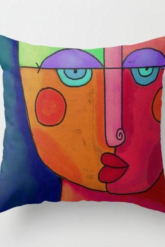 Colorful Abstract Face Decorative Throw Pillow Cover Case My Funky Abstract Digital Painting
