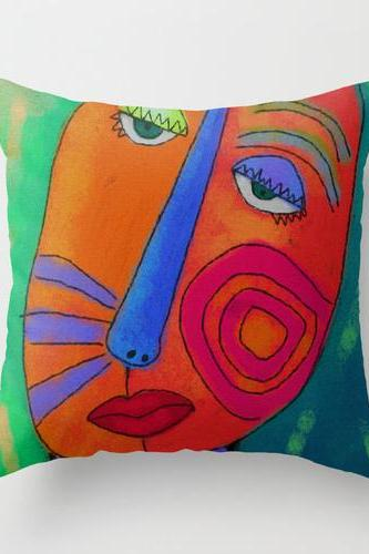 Colorful Abstract Face Throw Pillow Cover Case My Funky Abstract Digital Painting