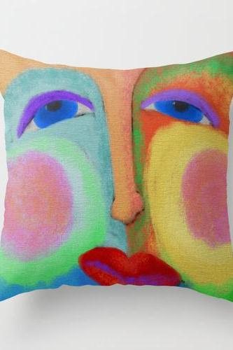 Happy Face Throw Pillow Cover Case My Colorful Abstract Digital Painting of an Abstract Face