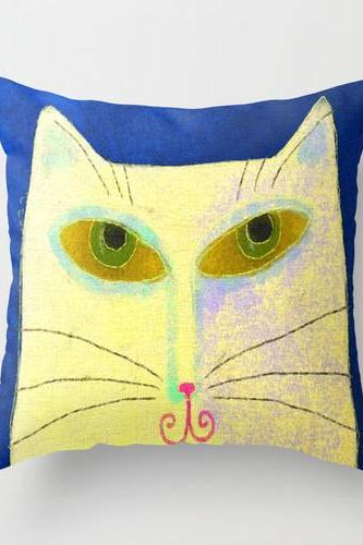 Yellow Cat Abstract Painting on Decorative Throw Pillow Cover Case My Funky Abstract Digital Painting