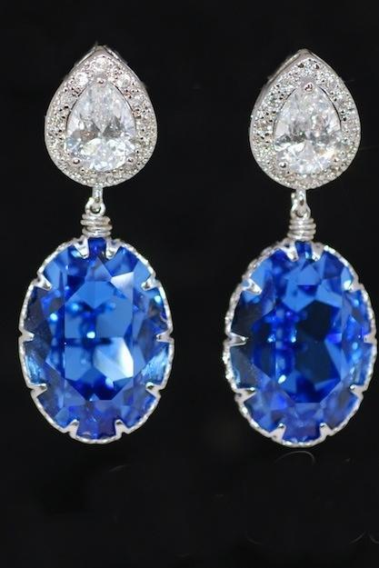 Cubic Zirconia Teardrop Earrings, Blue Sapphire Earrings - Wedding Earrings, Bridesmaid Earrings, Bridal Jewelry (E403)