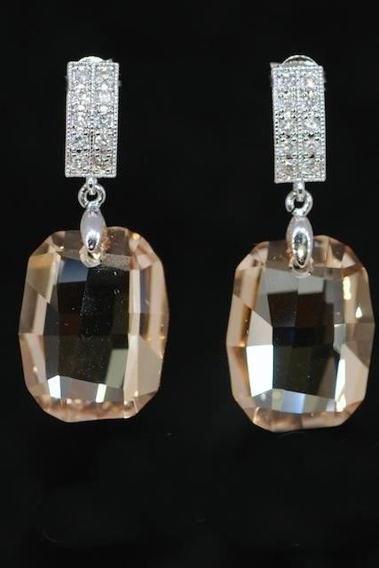Cubic Zirconia Detailed Earrings with Swarovski Golden Shadow Graphic Pendant - Wedding Earrings, Bridesmaid Earrings, Bridal Jewelry (E416)