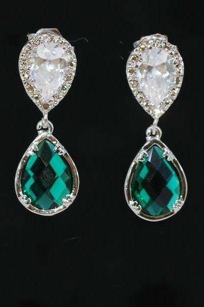 Cubic Zirconia Teardrop Earring with Emerald Green Fancy Glass (Small) - Wedding Earrings, Bridesmaid Earrings, Bridal Jewelry (E491)