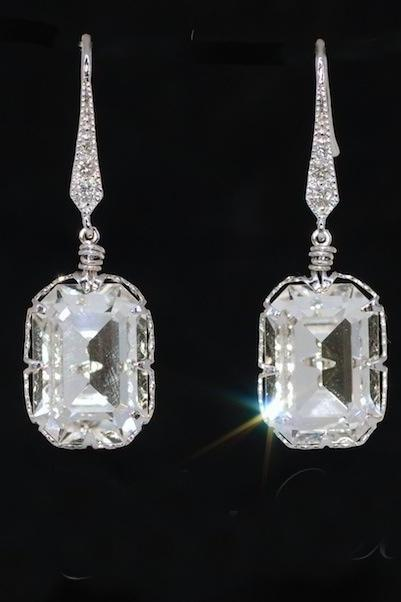 Swarovski Clear Rectangular Crystal and Cubic Zirconia Earring - Wedding Earrings, Bridesmaid Earrings, Bridal Jewelry (E483)