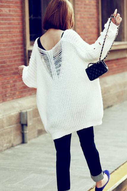 High Low Hem Cut Out Sweater