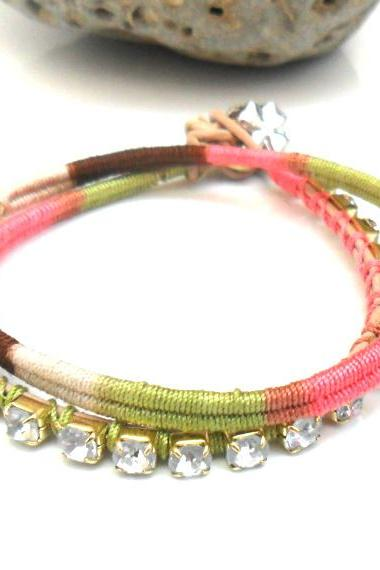 Friendship bracelet, rhinestone chain bracelet, double strand, cotton woven, boho chic fashion earth tones spring 2012 trendy under 30