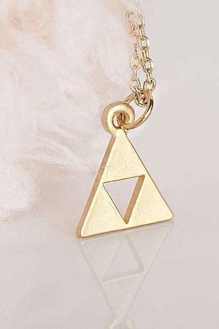 Gold Triforce Zelda Necklace, Geometric Triangle Minimalist Inspired