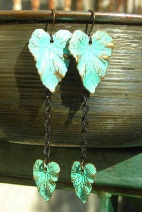 Extra Long Earrings, Verdigris on Leaves, solid brass with turquoise blue green patina, vintage finish earrings