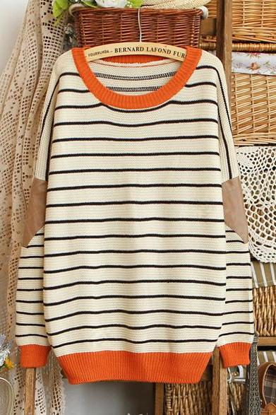 Beige Striped Contrast Leather Sweater