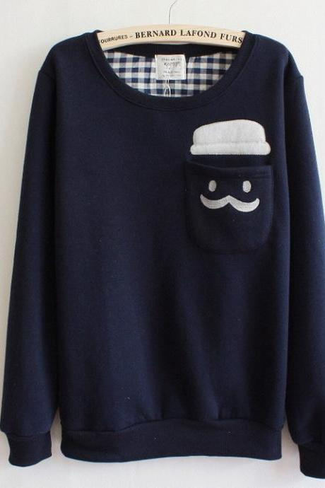 Blue Thickened Cashmere Doll Head Long Sleeve Sweater