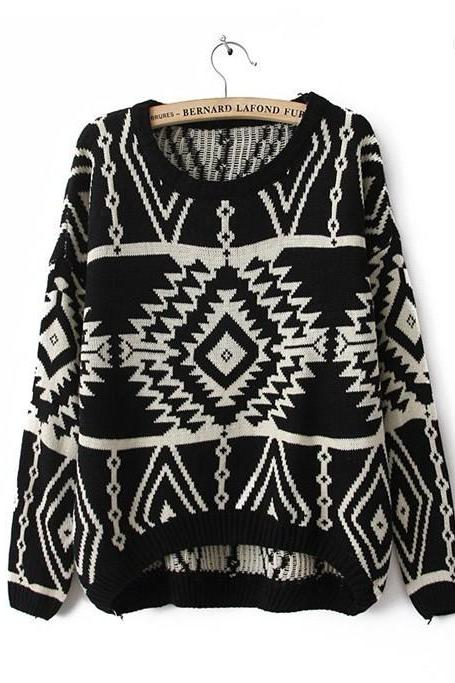 Black Long and Short In Front Geometry Long Sleeve Sweater