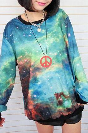 Universe Star Green Symphony Gradient Sleeve Sweater
