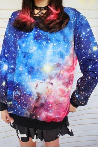 Fashion Gradient Universe Star Graffiti Sleeve Cotton Sweater
