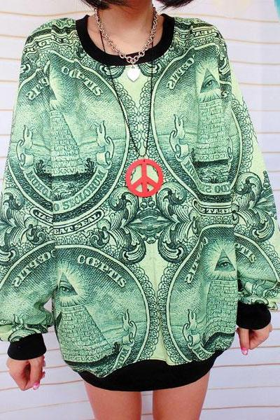 Green Notes Printed Gradient Sleeve Sweater