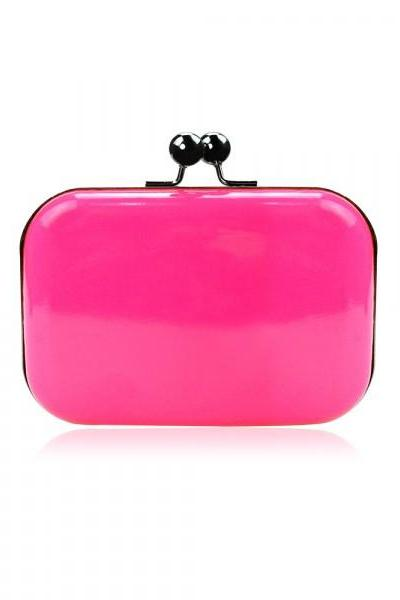 Candy Colored Leather Clutch Bag-Rose