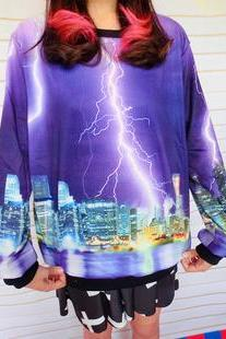 Unique Gradient Sleeve Sweater Purple Lightning Printed