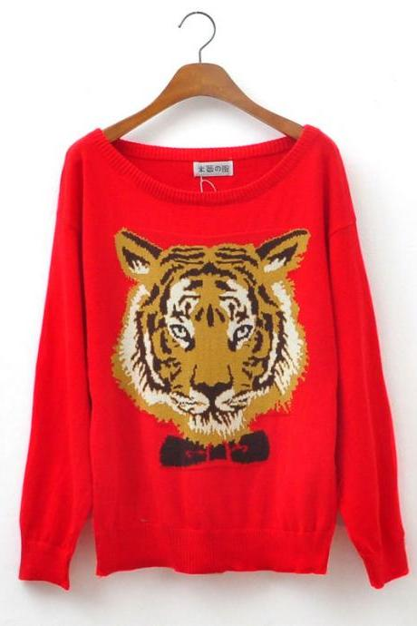 Cool Sleeve Sweater With Red Tiger Head