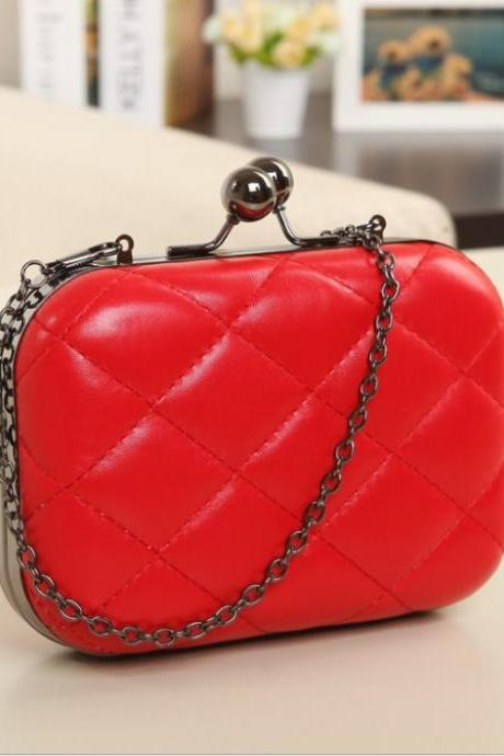 Candy-Color Evening Clutch Party Bridal Fashion Chain Mini Lingge Bags Clutch Handbag-Red