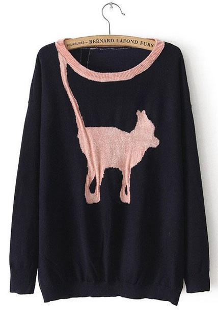 Endearing Animal Print Round Neck Pullover Sweaters - Navy Blue